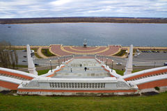 View of Chkalov staircase, boat Volga Flotilla  and Volga River, Nizhny Novgorod, Russia Royalty Free Stock Photography