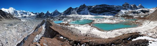 View of Cho Oyu base camp with lakes Royalty Free Stock Photo