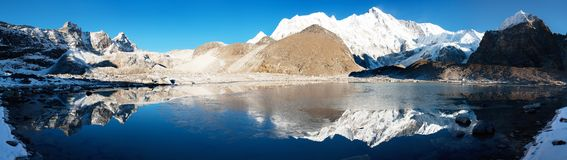 View of Cho Oyu mirroring in lake Royalty Free Stock Photography