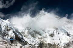View of Cho Oyu with trekker Royalty Free Stock Photo