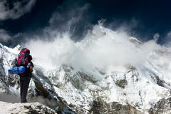 View of Cho Oyu with trekker Stock Photography