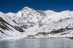 View of Cho Oyu and the village of Gokyo Royalty Free Stock Photography
