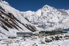 View of Cho Oyu and the village of Gokyo Stock Images