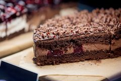 View at chocolate cake in a cafe counter. royalty free stock photography