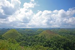 View of the chocolate hills, in Bohol province of the Philippines. The Chocolate Hills are Bohol`s most famous tourist attraction, nestled in the heart of the Royalty Free Stock Image