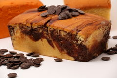View of the chocolate swirls on a marble cake Royalty Free Stock Photos