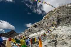 View from Chola pass with pray flag,one of pass on Everest base stock photo