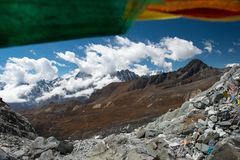 View from Chola pass with pray flag,one of pass on Everest base royalty free stock images