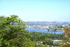 A view of The Chongryu Bridge. Pyongyang, DPRK - North Korea. A view of The Chongryu Bridge. May 01, 2017. Pyongyang, DPRK - North Korea Stock Photography