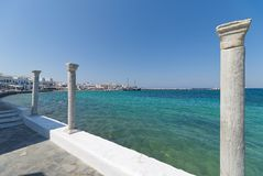 Chora village Beach and harbor - Mykonos Cyclades island - Aegean sea - Greece royalty free stock photo