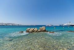 Chora village Beach and harbor - Mykonos Cyclades island - Aegean sea - Greece royalty free stock photography