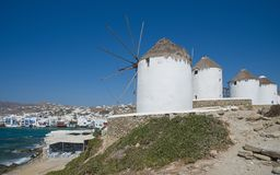 Chora village Windmills - Mykonos Cyclades island - Aegean sea - Greece royalty free stock images