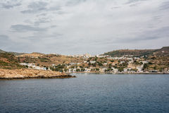 View of Chorio and Psathi village, Kimolos island, Cyclades Stock Photos