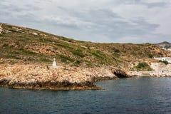 View of Chorio and Psathi village, Kimolos island, Cyclades Stock Photos