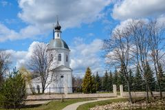 View of the Christian church. On the background of the spring blue sky with clouds Stock Photos