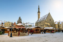 View of the Christmas market on town hall square in Tallinn Stock Images
