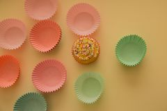 View of Christmas muffins decorated Royalty Free Stock Images