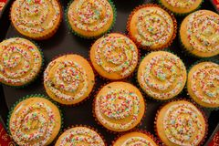 View of Christmas muffins decorated Royalty Free Stock Photo