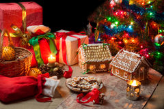 View of the Christmas table with presents Stock Images