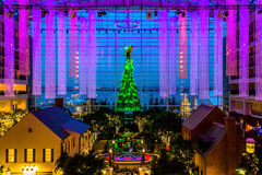 View of the Christmas tree and lobby of the Gaylord National Res Royalty Free Stock Images