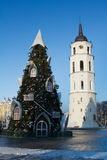 View of the christmas tree in Vilnius, Lithuania Royalty Free Stock Images