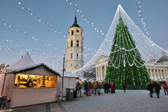 View of the christmas tree in Vilnius Royalty Free Stock Image