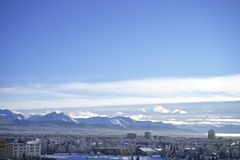 View of Chugach Mountains from Anchorage Alaska. Chugach Mountains on the out skirts of the city royalty free stock photos