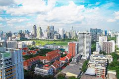 View of Chulalongkorn University, Bangkok, Thailand. The image of the building of faculty of Law and Language institute of Chulalongkorn University royalty free stock photo