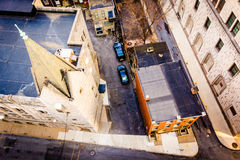 View of a church and alleys from the South Street Parking Garage Royalty Free Stock Photo