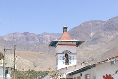 View of the Church of Antioquia. In the town of the same name, in Peru royalty free stock image
