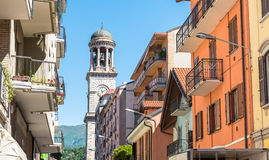 View with church bell tower in Verbania Intra, Italy Royalty Free Stock Image