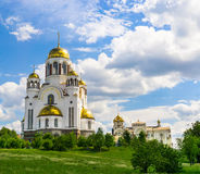 View of Church on Blood in Honor  All Saints Resplendent in the Russian Land Stock Images