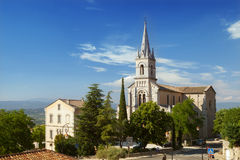 The view on church in Bonnieux. Provence, France Royalty Free Stock Photos