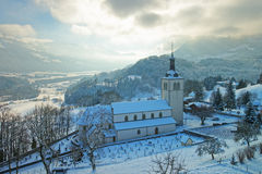 View of the church and the cemetery near Gruyere castle Stock Photography