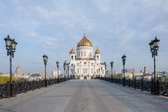 View Church of the Christ of Savior from the Patriarchal bridge in the early morning. Royalty Free Stock Images
