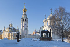 View on the church of the city of Vologda frosty winter day royalty free stock images