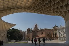 View of the Church of the Conception from the Setas de Sevilla viewpoint stock photography