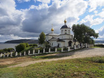 View of the Church of Constantine and his mother Helena. Sviyazhsk, Russia. Church of St Constantine and Helena, river Stock Photo