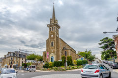 View at church in Dinard. DINARD, FRANCE - AUGUST 24,2014 - View at church in Dinard. Its beaches and mild climate make it a popular holiday destination Royalty Free Stock Image