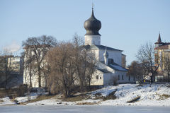 View of the Church of the Dormition of the Mother of God february day. Pskov, Russia Stock Photography