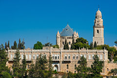 View of Church of Dormition on Mount Zion, Jerusalem, Israel. Sunny day. Blue sky Royalty Free Stock Photography