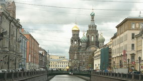 View of the Church and the Fontanka river. stock footage
