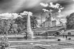 View of the Church of Grand Palace in Peterhof, Russia Stock Photography