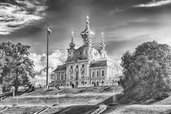 View of the Church of Grand Palace in Peterhof, Russia Stock Image