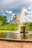 View of the Church of Grand Palace in Peterhof, Russia Royalty Free Stock Image