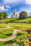 View of the Church of Grand Palace in Peterhof, Russia Royalty Free Stock Photo
