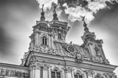 View of the Church of Grand Palace in Peterhof, Russia Stock Images