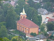 View of the church from the height of the mountain. Royalty Free Stock Photos