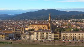 View of the Church of the Holy cross Basilica di Santa Croce. Florence, Italy stock video footage