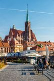 View of church of the Holy Cross and St Bartholomew in Wroclaw, Poland stock photo